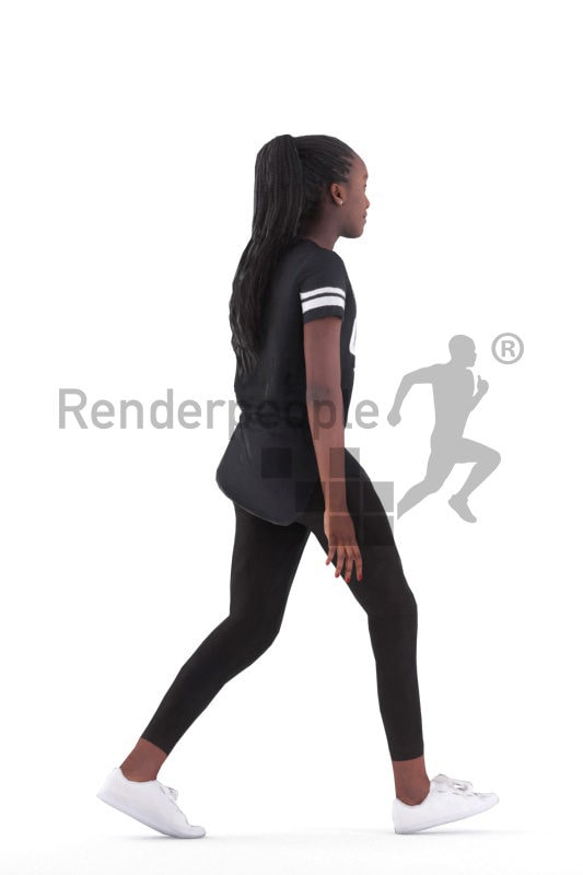 Animated 3D People model for Unreal Engine and Unity – black woman walking in a casual sporty look