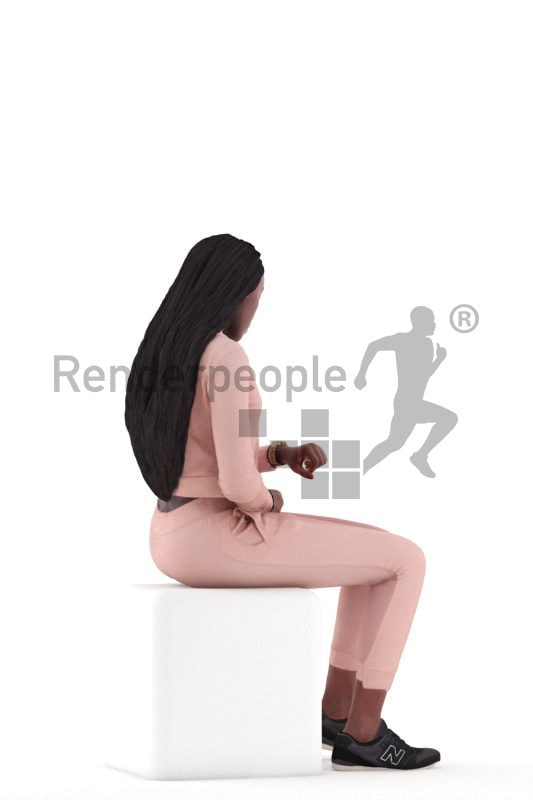 3d people casual, black 3d woman sitting and looking on watch
