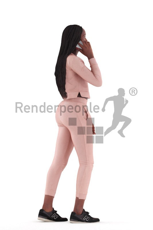 3d people casual, black 3d woman standing and calling somebody