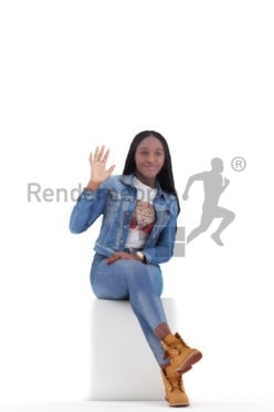 3d people casual, black 3d woman sitting and waving