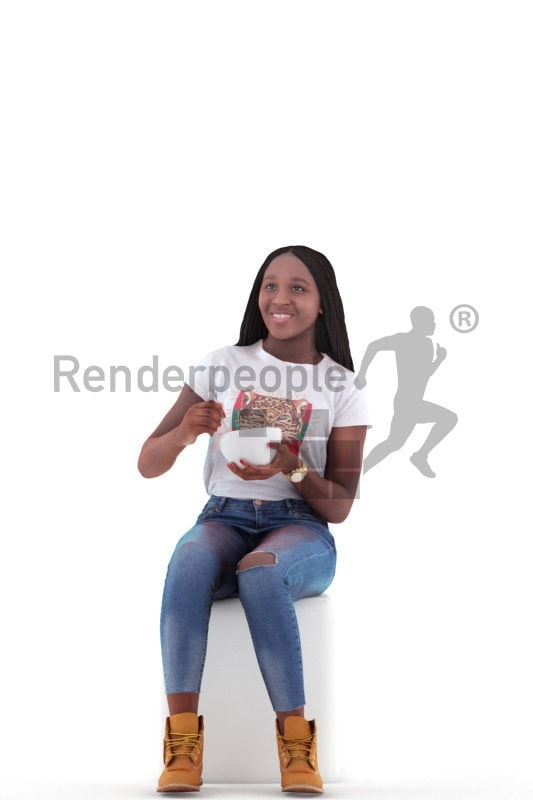 3d people casual, black 3d woman sitting and eating