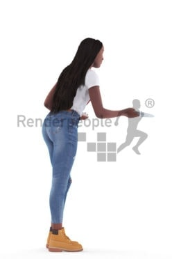 3d people casual, black 3d woman standing and serving plates