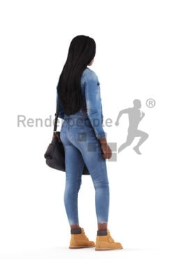 3d people casual, black 3d woman standing and holding bag