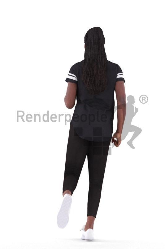 3d people sports, black 3d woman running