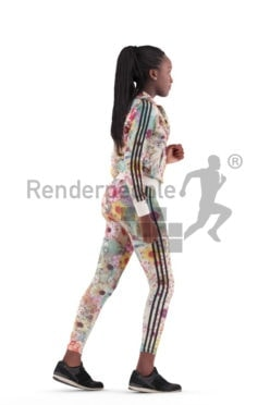 3d people sports, black 3d woman running
