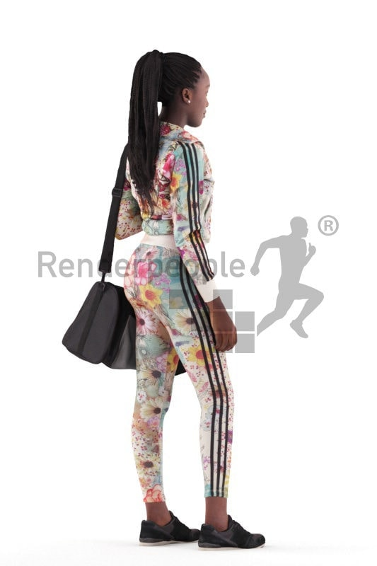 3d people sports, black 3d woman standing and holding a sports bag