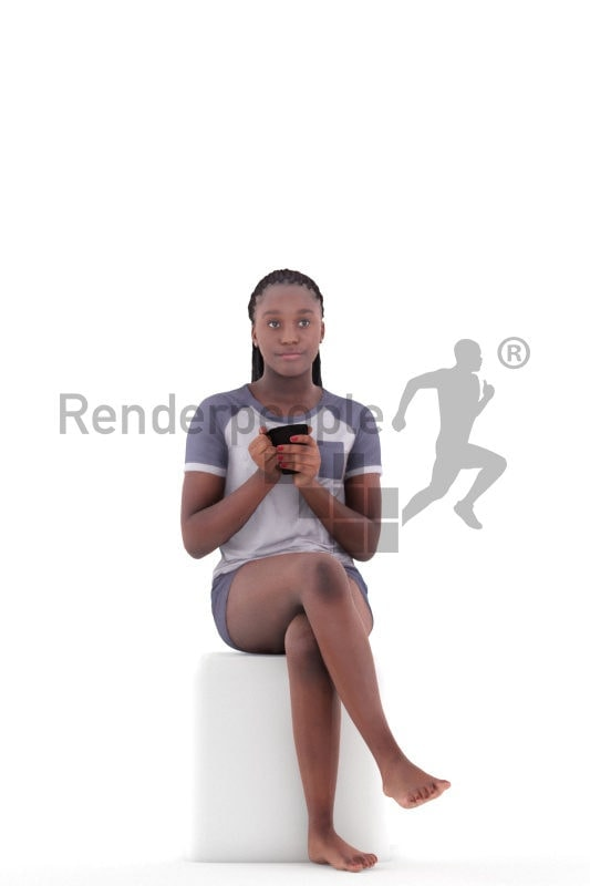 3d people sleepwear, black 3d woman sitting and holding mug