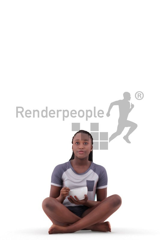 3d people sleepwear, black 3d woman sitting and holding bowl