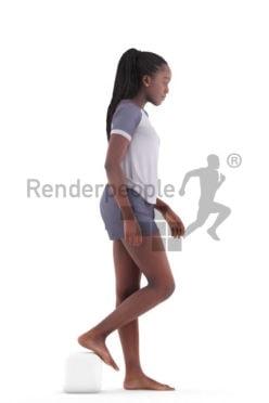 3d people sleepwear, black 3d woman walking