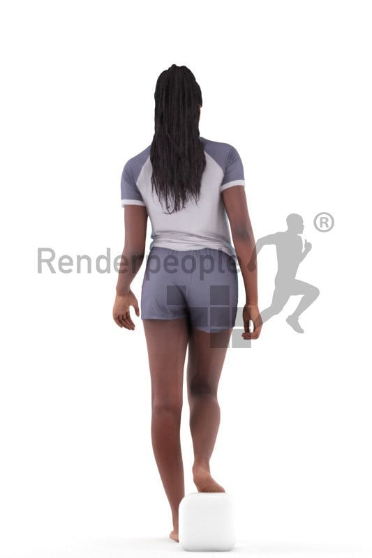 3d people sleepwear, black 3d woman walking