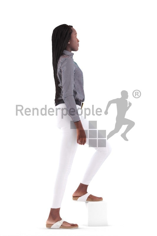 3d people casual, black 3d woman walking and climbing stairs