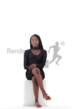 3d people event, black 3d woman sitting