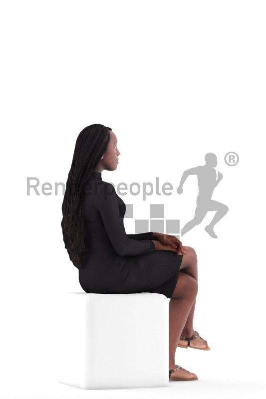 3d people event, black 3d woman sitting