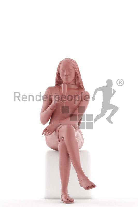 3D People model for 3ds Max and Maya – black woman, event look, sitting and drinking champagne