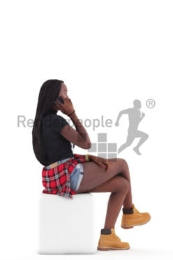 3d people casual, black 3d woman sitting and calling