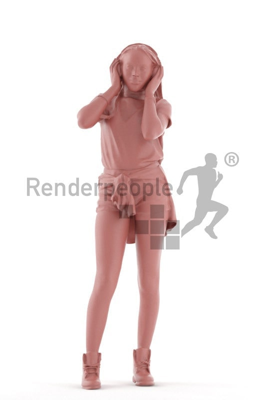 3d people casual, black 3d woman standing and listening to music