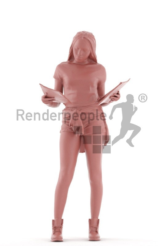 3d people casual, black 3d woman standing and shopping magazines