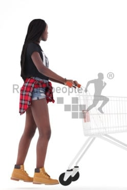 Photorealistic 3D People model by Renderpeople – african woman in daily outfit, carrying a cart in the supermarket