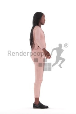 Rigged human 3D model by Renderpeople – black woman, sports wear