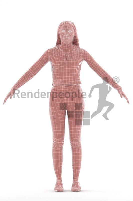Rigged human 3D model by Renderpeople – black woman, sports wear