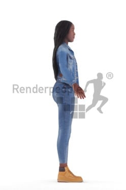 Rigged and retopologized 3D People model – African woman in a casual jeans look