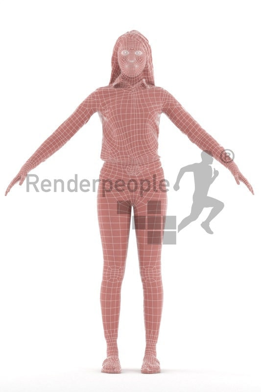 Rigged and retopologized 3D People model – smart casual black woman