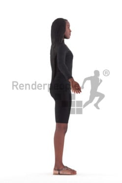 Rigged and retopologized 3D People model – black woman in a dress, event