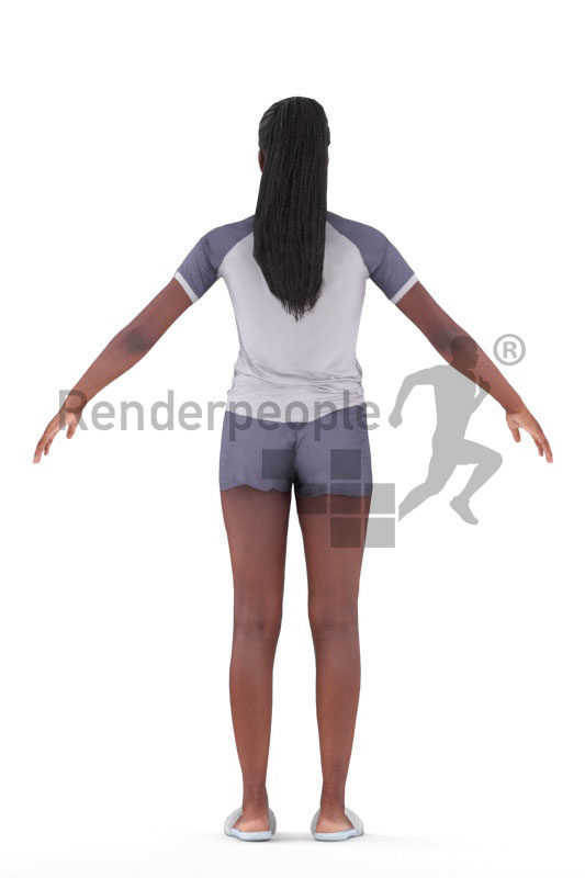 Rigged 3D People model for Maya and 3ds Max – black woman in shorty pyjama