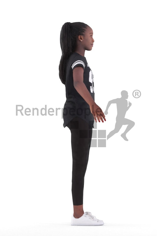Rigged 3D People model for Maya and Cinema 4D – Black young woman in casual clothes