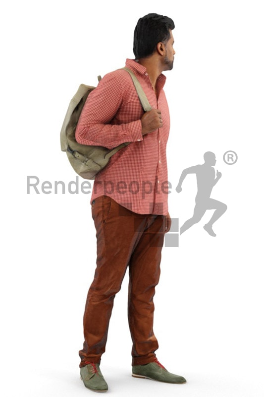 3d people casual, indian 3d man wearing a backpack