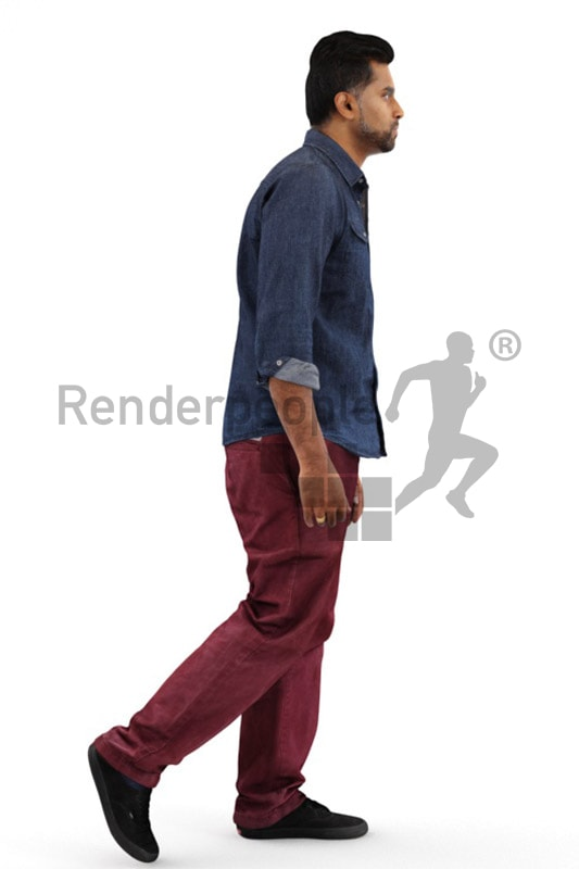 3d people casual, indian 3d man walking