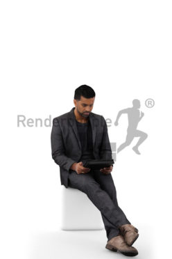 3d people business, indian 3d man waering a suit sitting looking at his tablet