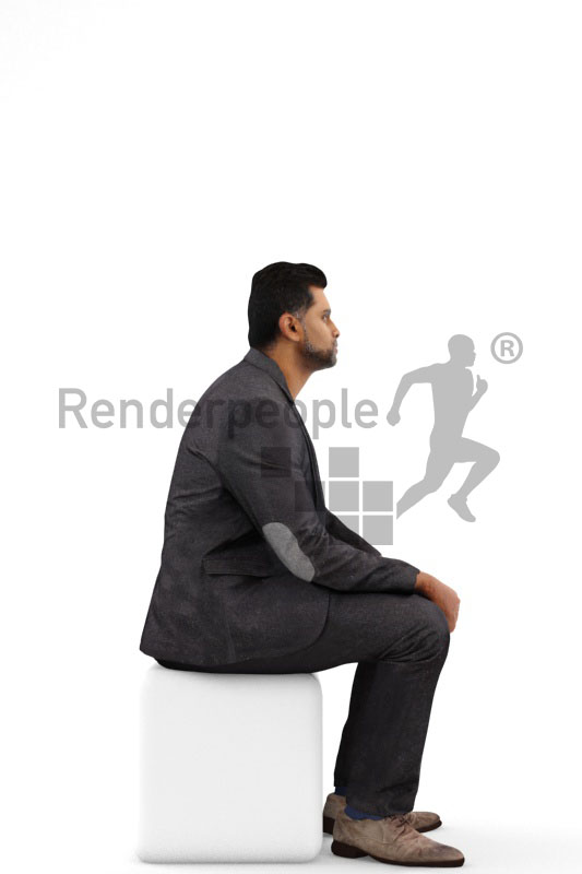 3d people business, indian 3d man wearing a suit sitting