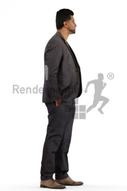 3d people business, indian pakistani 3d man standing