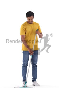 Photorealistic 3D People model by Renderpeople – indian man in casual streetwear, cleaning with mop