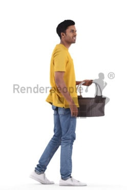 Scanned human 3D model by Renderpeople – indian man in daily outfit, walking with basket