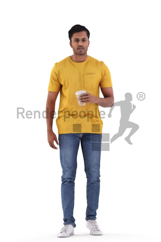Posed 3D People model by Renderpeople – indian man in daily outfit, walking with coffee to go cup