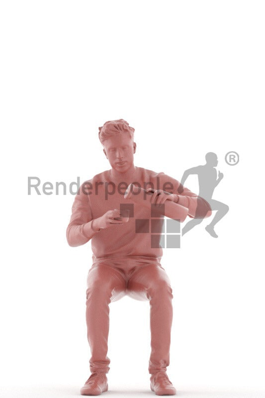 Posed 3D People model for renderings – indian man in casual look, sitting and filling his thermo cup