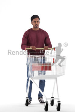 Scanned 3D People model for visualization – indian man in daily pullover, walking with trolley