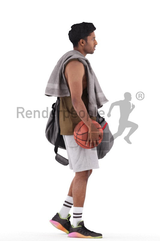 Scanned 3D People model for visualization – indian man in sports outfit, carrying towl, sportsbag and basketball while walking