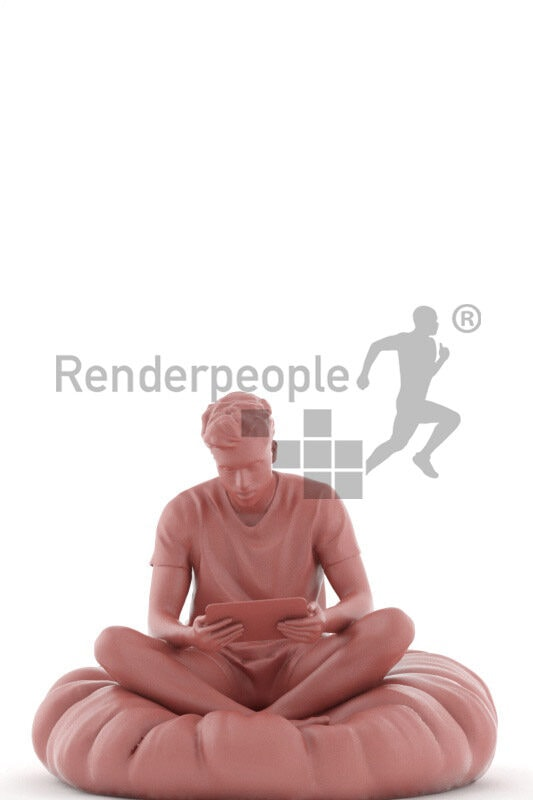 Photorealistic 3D People model by Renderpeople – indian man in sleepwear, sitting on a beanbag and watching something on the tablet