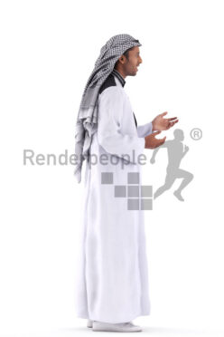 Posed 3D People model for renderings – middle eastern man in traditional clothing, standing and talking