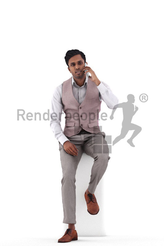 Posed 3D People model for renderings – indian man in smart casual look, sitting and calling