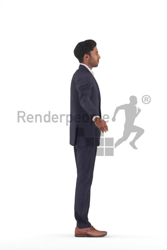 Rigged 3D People model for Maya and Cinema 4D – indian man in suit, for event or business visualizations