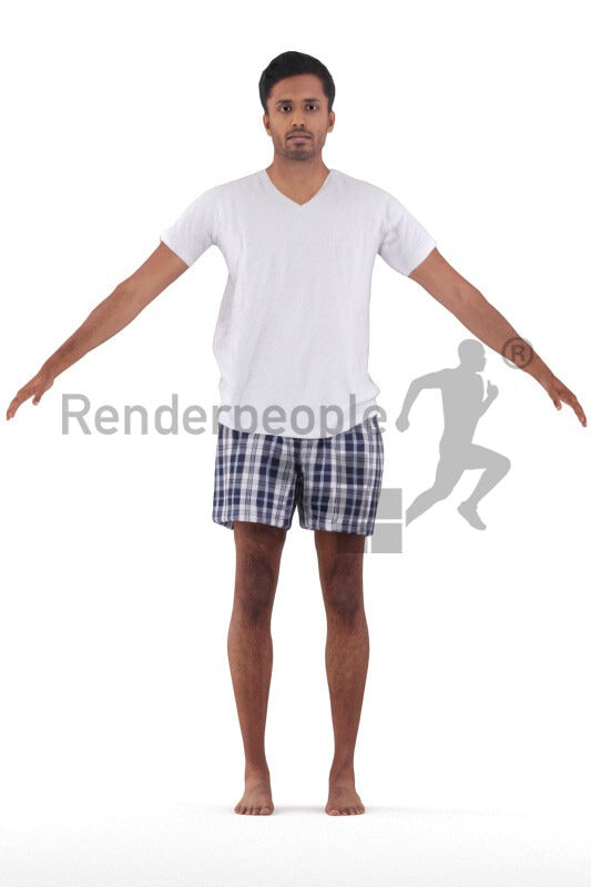 Rigged and retopologized 3D People model – indian/middle eastern man in sleepwear