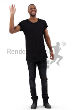 3d people casual, black 3d man waving