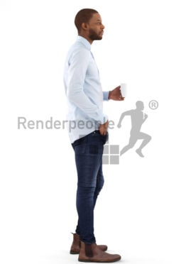 3d people business, black 3d man holding a cup