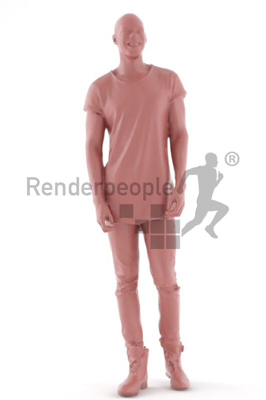 3d people casual, black 3d man standing and smiling