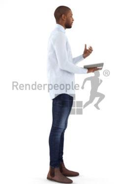 3d people busniess, black 3d man holding a folder