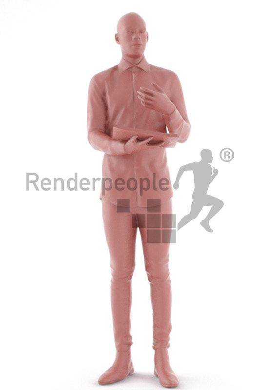 3d people busniess, black 3d man holding a folder